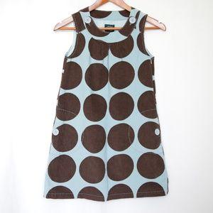 Mini Boden Blue Brown Corduroy Polka Dot Dress